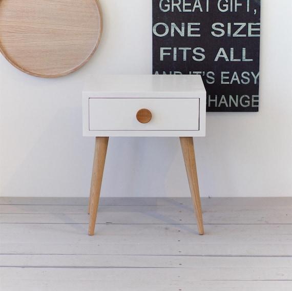 Weiße Eiche Nachttisch Mit Schublade Weiße Nacht Mitte Des Jahrhunderts Inspiriert Skandinavischen Stil Schlafzimmer Akzent Beistelltisch
