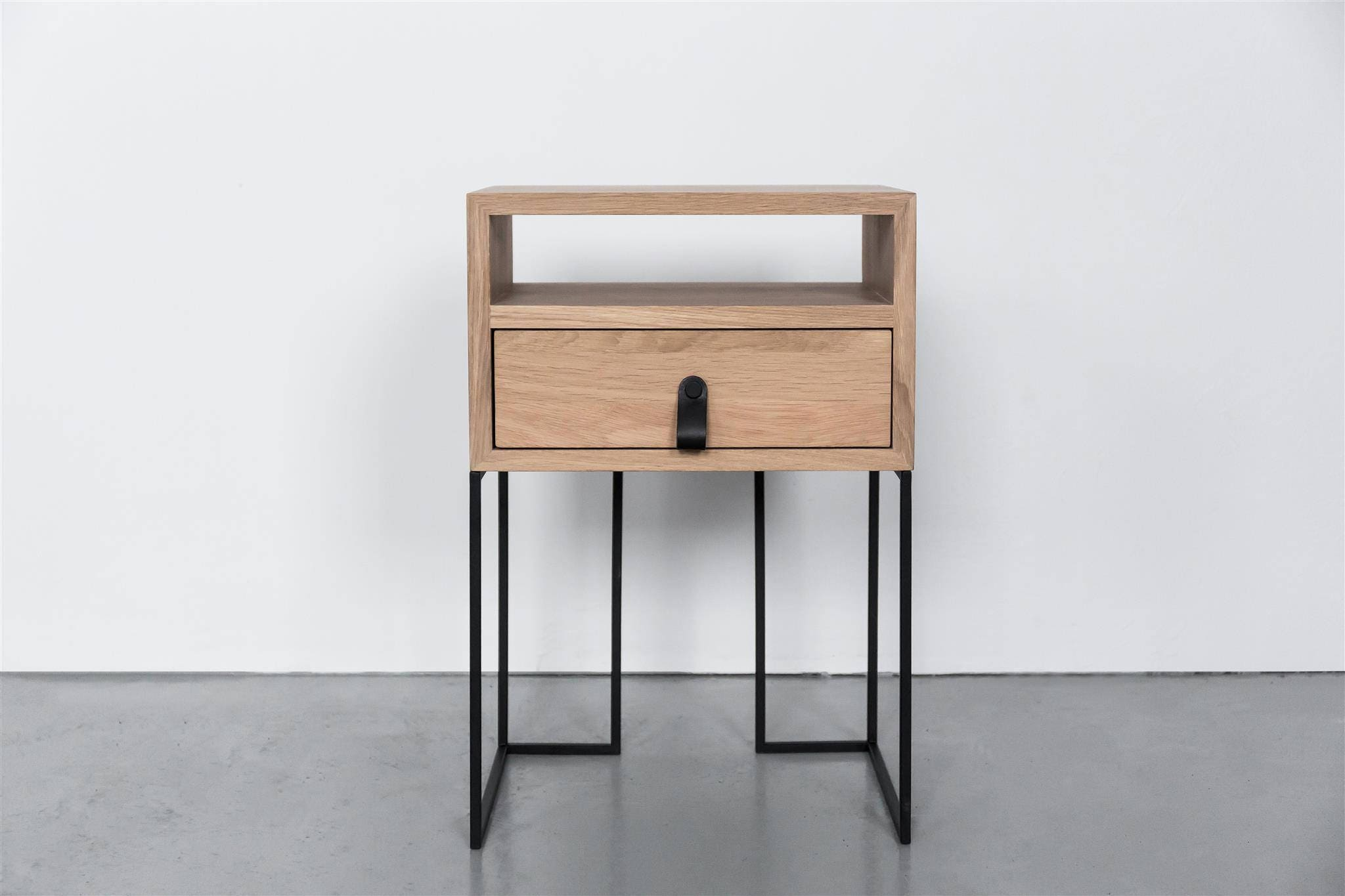 Industrial Nightstands Mid Century Industrial Style Bedside Solid Oak And Black Finish Metal Legs Side Table Bedside No Id 03 01