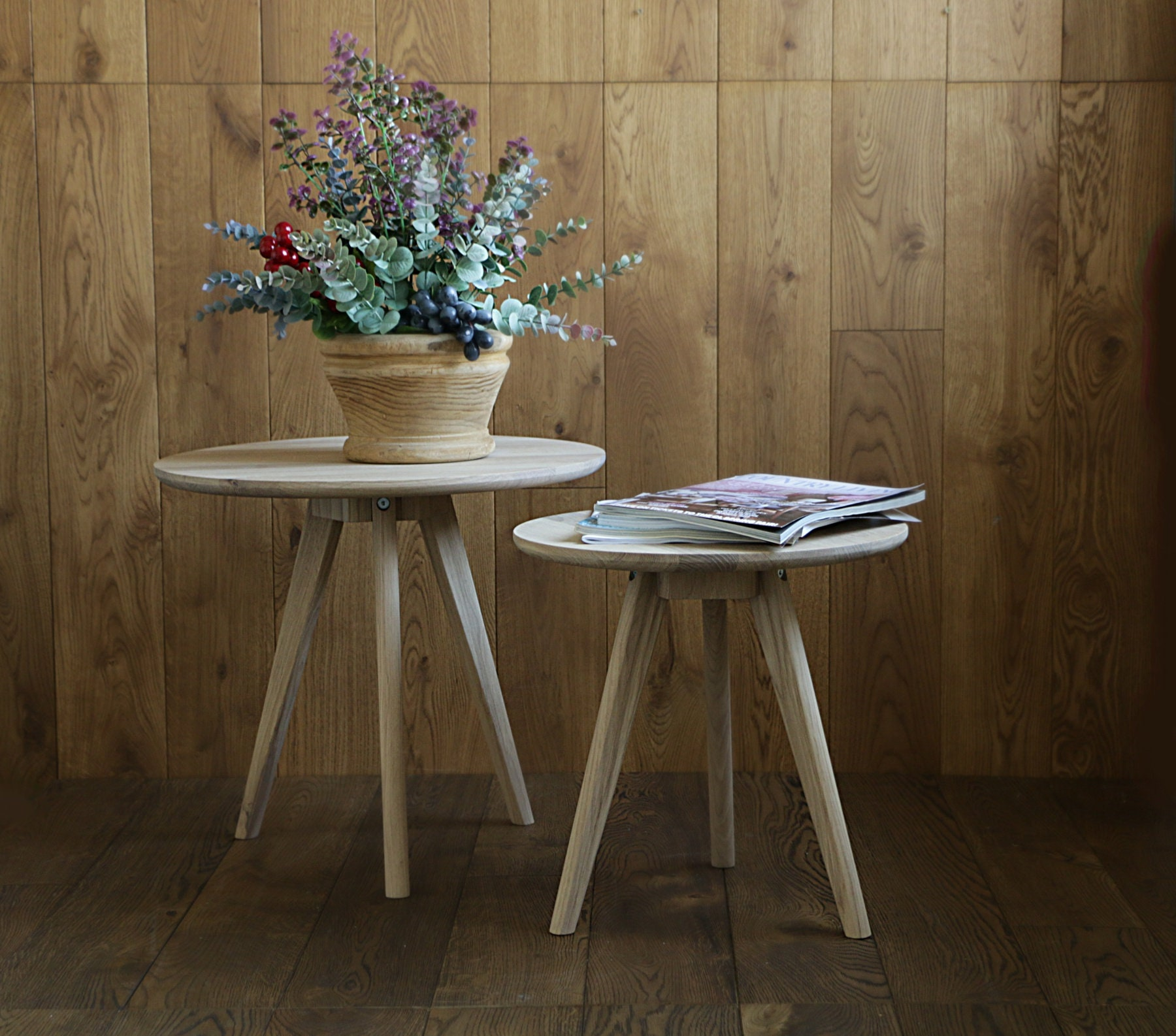 Mid Century Rose Wood Side Table Or Small Coffee Table For: Set Of 2 Oak Wood Side Tables Small Table Coffee Table