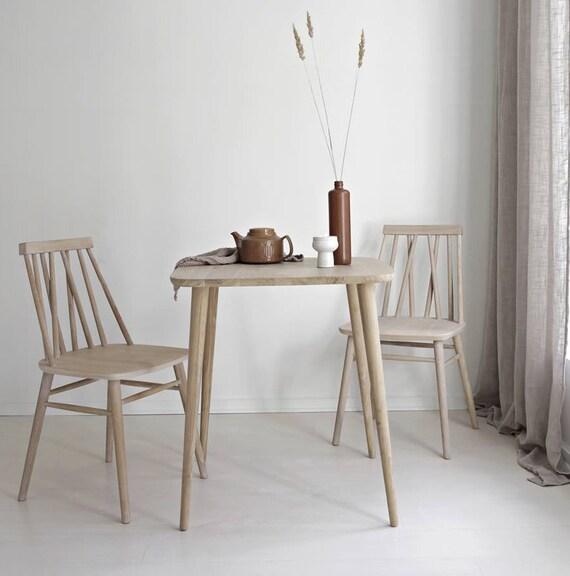 Piccolo tavolo in rovere massello | Tavolo da cucina | tavolo in rovere |  Tavolo moderno colazione | Tabella per due | Scandinavo stile fine tabella  ...