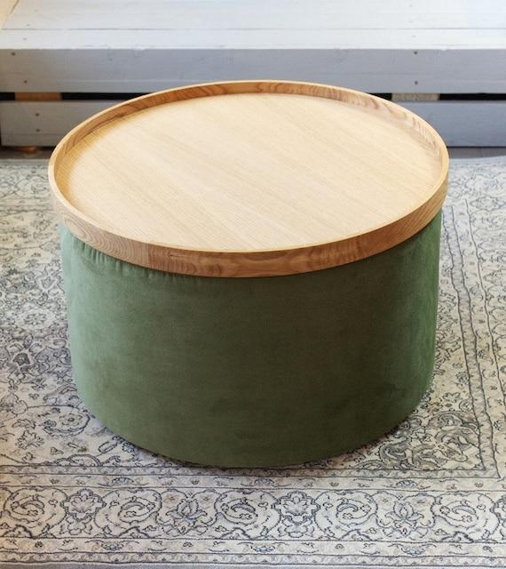 Hedendaags Set van grote ronde poef en houten eiken lade fluweel | Etsy MY-61