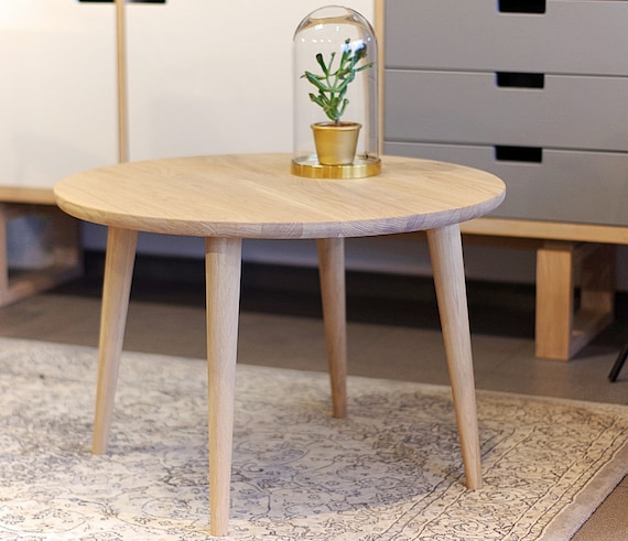 Round Oak Small Coffee Table Scandinavian Style Round Etsy