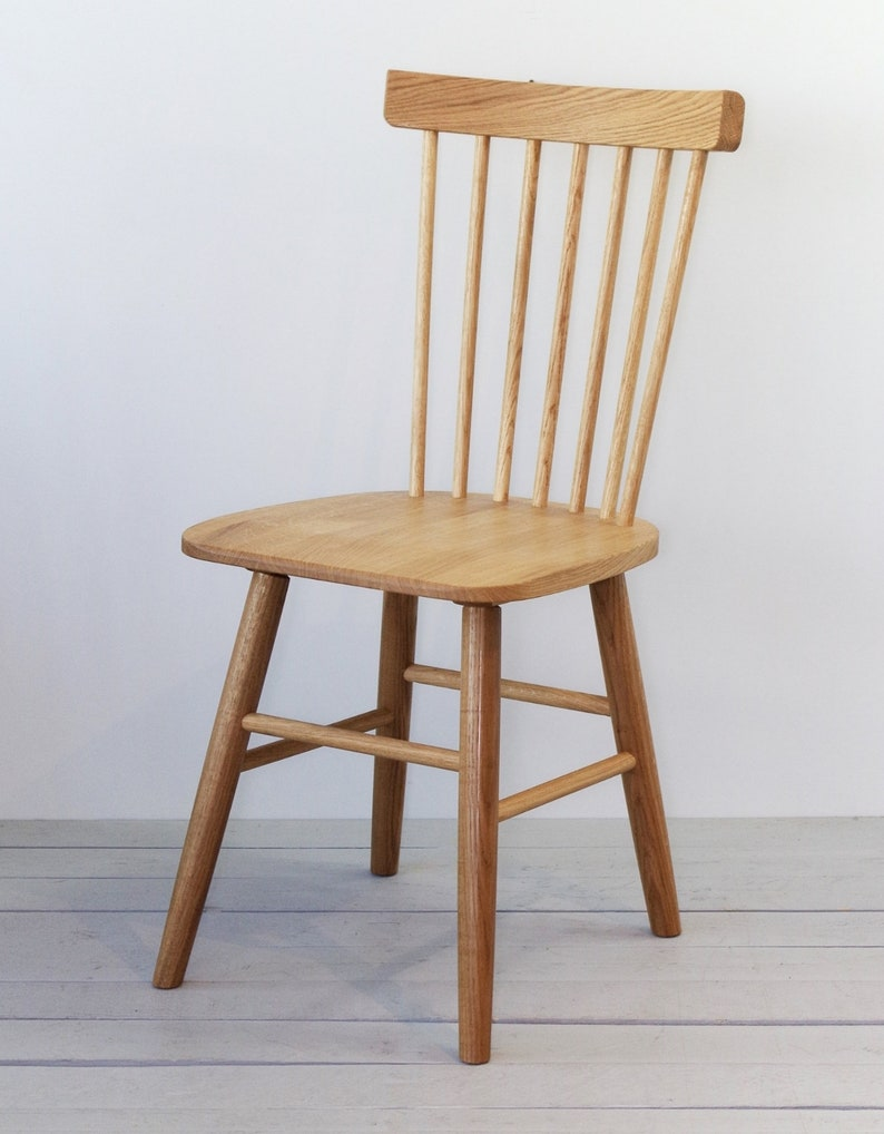 Set Of Two Solid Oak Wooden Chairs Scandinavian Design Etsy