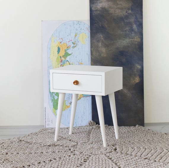White oak nightstand | White bedside with drawer | Mid Century Modern |  White Nightstand | Bedroom furniture | White Side table NO-02-EP