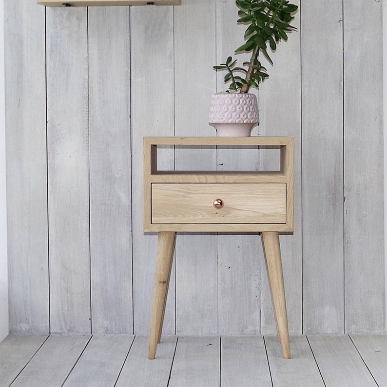 Ready To Ship Solid Oak Bedside Table With Drawer Nightstand Etsy