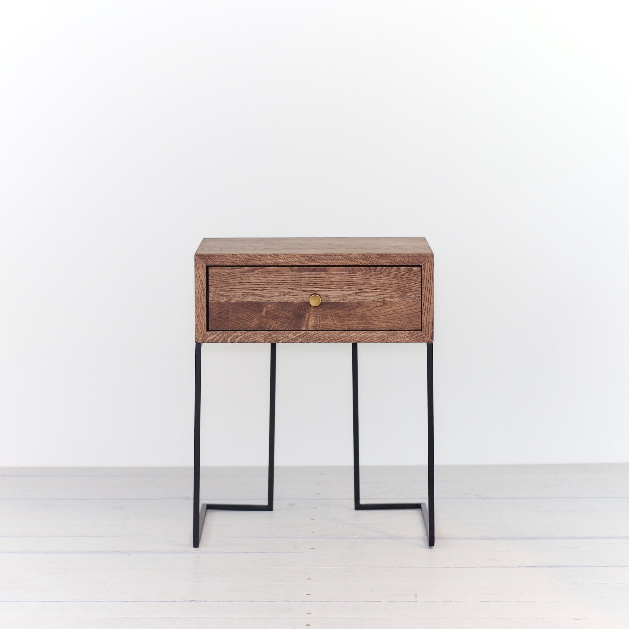 Industrial Bedside Table Mid Century Industrial Style Solid Oak Wood And Black Finish Metal Legs Nightstand End Table No Id 02 01es