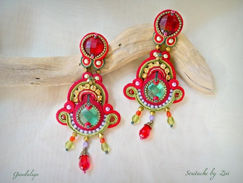 7204d76fb1c7 Pendientes Soutache Largos Rojo Dorado Pendientes Flamenca