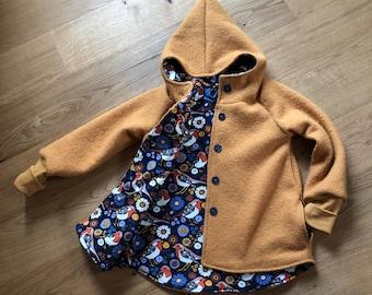 Walkjacke Zipfel Jacke Mantel Schurwolle Baby Kinder Gr.62-146 Wollwalkmantel Farbwahl