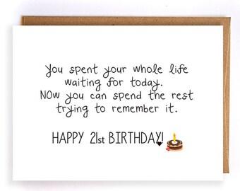 Funny 21st Birthday For Boyfriend Greeting Card Gift Ideas Cards Cute Handmade Her Him GC70