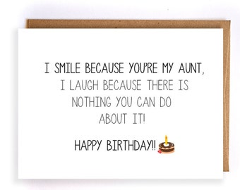 Funny Happy Birthday Card For Aunt Blank Greeting Cards Cute Handmade Custom GC89