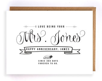 personalized name 1st anniversary paper, 1st anniversary cards for him, cute handmade greeting cards, anniversary gifts for her GC32