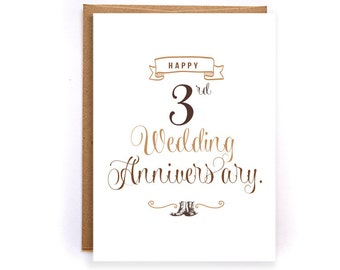 3rd anniversary card, leather anniversary card, cute handmade greeting cards for husband, anniversary gifts for him, card for man GC39