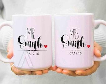 Wedding Gift Ideas Engagement Gifts Couple Mugs Mr And Mrs Etsy