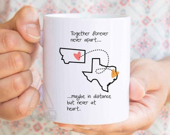 Long Distance Relationship Gifts Map Mug For Husband Wife Boyfriend Birthday Ldr Him MU316