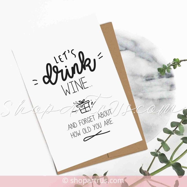 Funny Happy Birthday Cards For Mom Wine Handmade Greeting Card Husband Rude