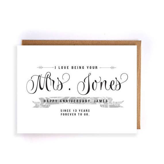 13th Wedding Anniversary Gift For Her: Items Similar To Custom Name 13th Anniversary Cards For