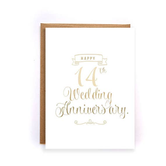 14th anniversary cards for her ivory anniversary card cute etsy