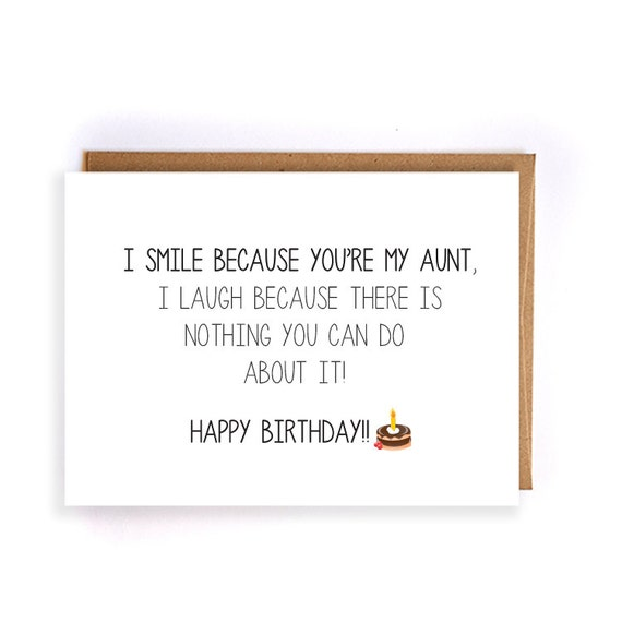 Funny Happy Birthday Card For Aunt Aunt Birthday Blank Etsy
