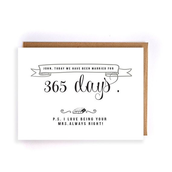 1st Wedding Anniversary Gift For Husband: Items Similar To Personalized 1st Anniversary Card, Paper
