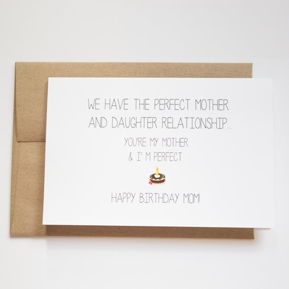 Mom Birthday Card Funny Funny Birthday Cards For Mom Etsy