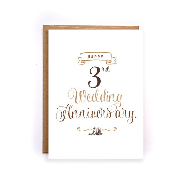 items similar to 3rd anniversary card leather anniversary