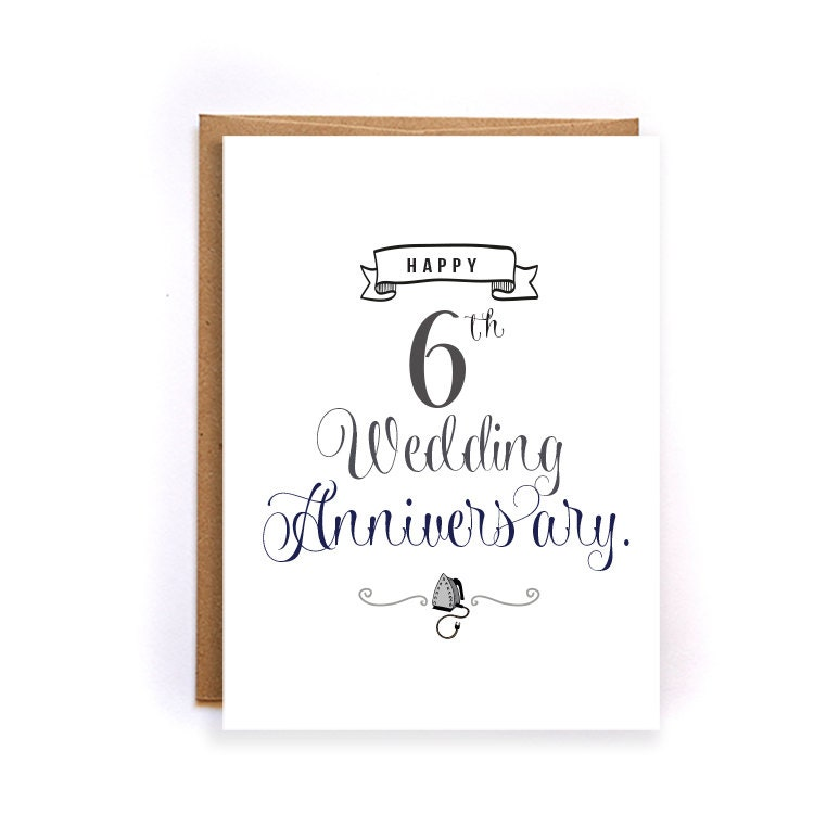 6th Anniversary Card Iron Anniversary Card For Him Cute