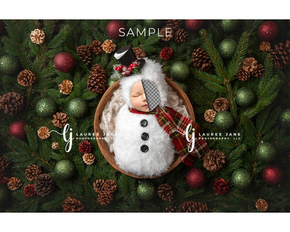 Newborn Digital Backdrop Christmas Theme with Santa/'s Reindeer and a Snownam Christmas Digital backdrop Newborn Digital background