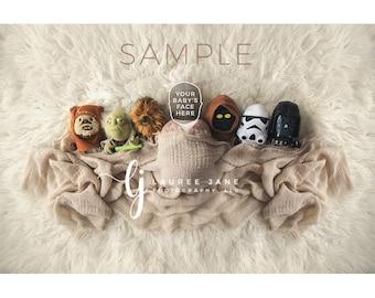 Newborn digital backdrop, Star Wars, Luke, Leia, head swap, newborn digital background, newborn composite, instant download, girl, boy