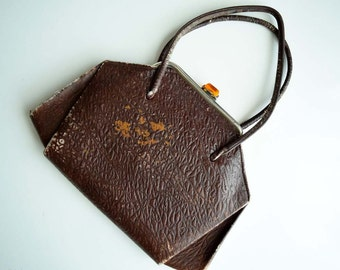 Vintage Brown Real Leather Unique Handbag with Yellow Clear Glass Clasp