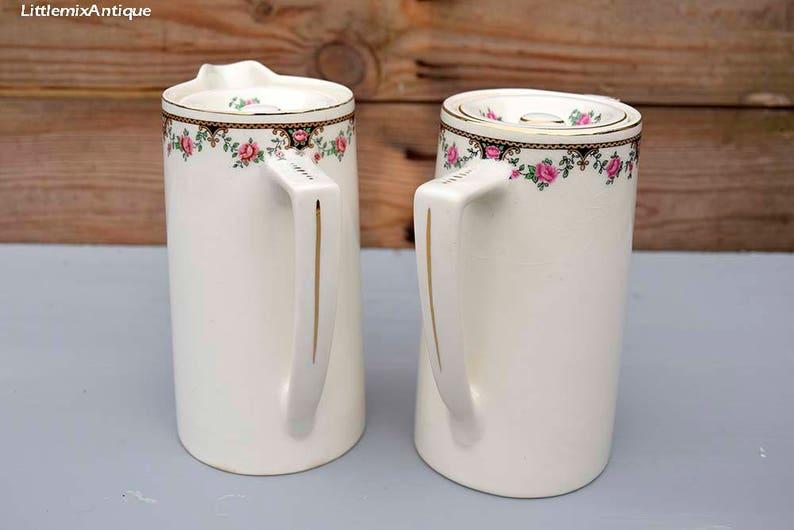 Dell'annata Bristol rinforzato Vitrite fatta da Poutneys ceramica retrò  dettaglio floreale inglese Cina piccola brocca di acqua e piccoli Pot del