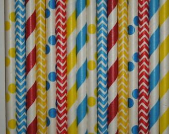 50 Circus Carnival Theme Party Paper Straws -Circus Birthday-Clown Birthday- Carousel Party-Boy Superhero Birthday-Carnival Mason Jar Straws