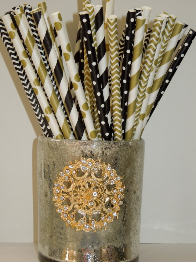 50 Gold Black Paper Straws Wedding Decor 40th Birthday Decoration Chevron