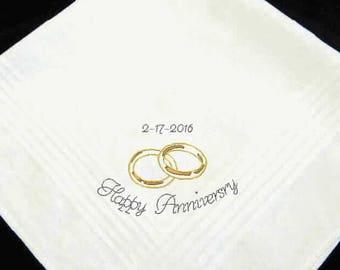 Wedding Anniversary Handkerchief Gift, personalized hankies, personalized hankie, wedding anniversary, groom gift, gift for him
