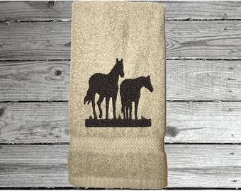 COWGIRL CAMPER LQ TRAILER HAND TOWELS COWBOYS HERD HORSES   HANDMADE NEW