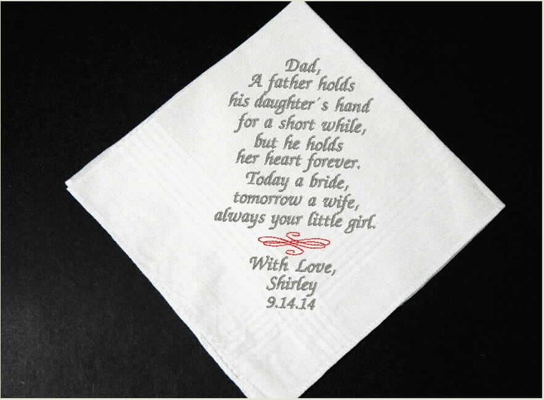 Father of the Bride Wedding Handkerchief Embroidered Gift For Dad From Daughter Custom Personalized Party Favor Custom Handkerchief Dad