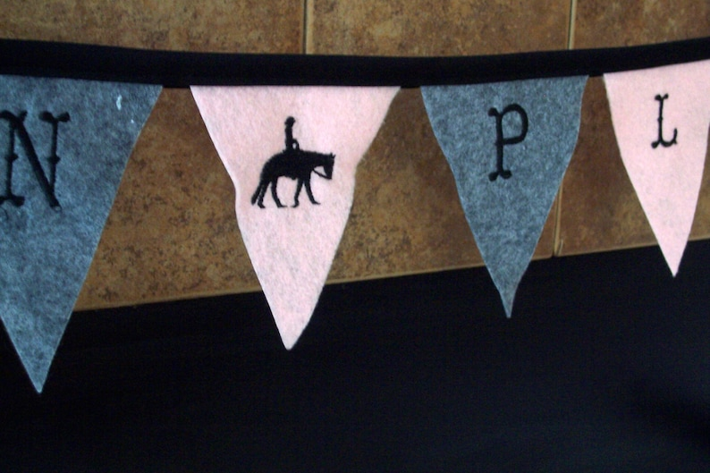 hand made party decorations personalized gift for her Western Pleasure garland embroidered letters photo prop western banners and flags