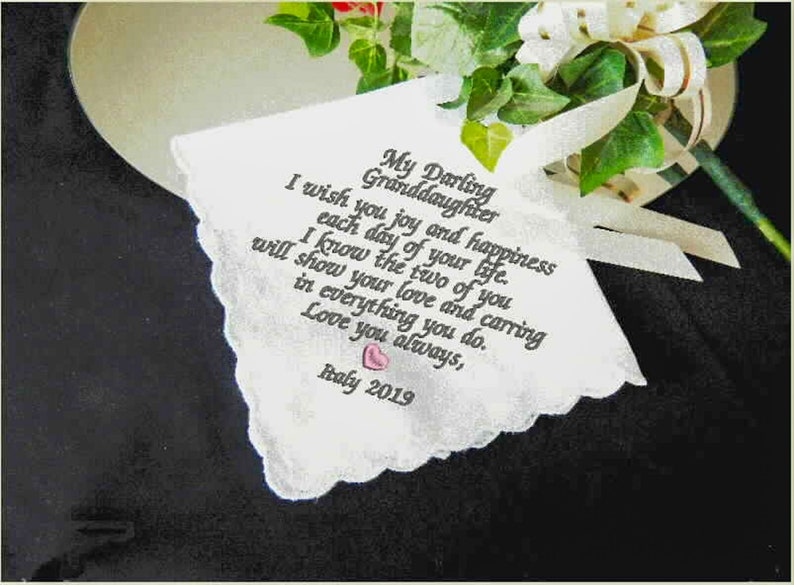 Granddaughter gift embroidered wedding handkerchief for a bride something old and blue for wedding day personalized custom gift