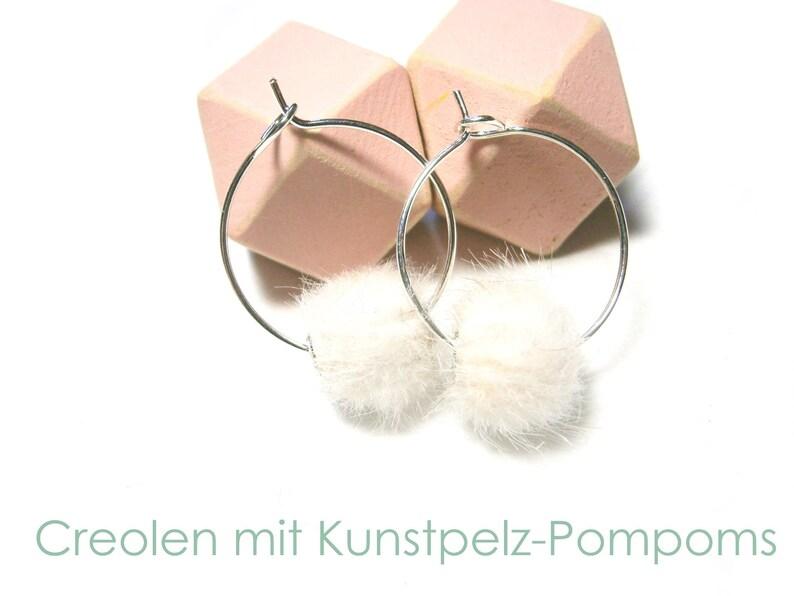 Earrings Creoles silver Faux fur