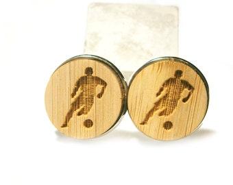 Footballer Cufflinks Wood, Football Sports Jewelry Gift Men Men Man