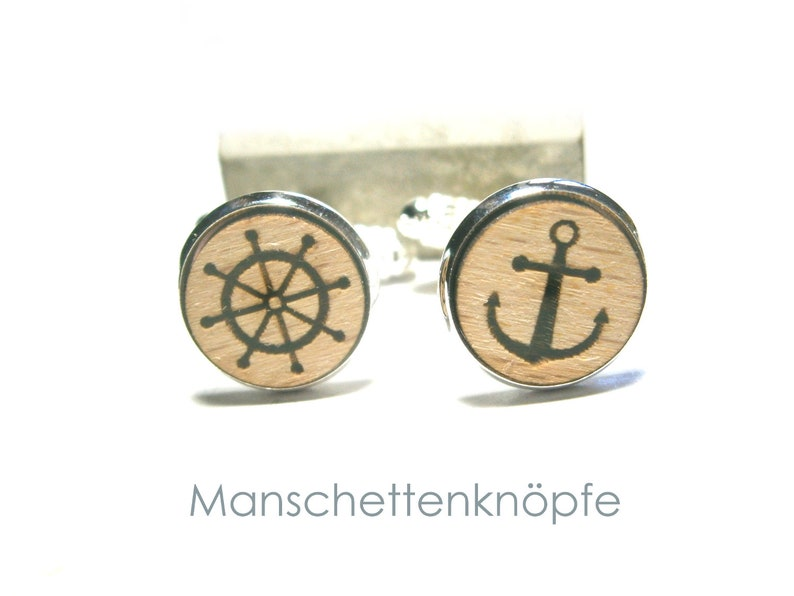Cufflinks wood anchor maritim jewelry