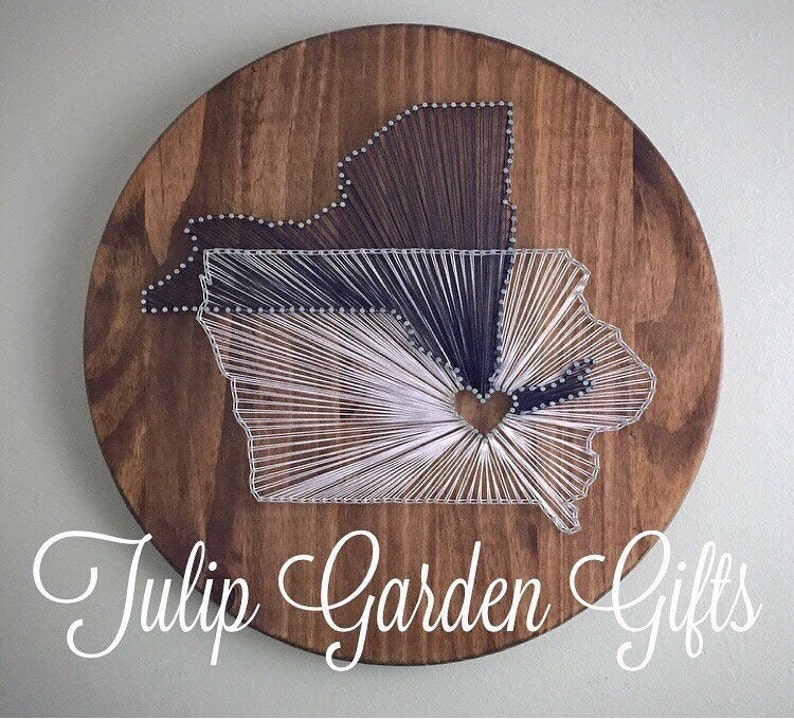 Heartstrings Two State String Art Round Wooden Wall Decor image 0