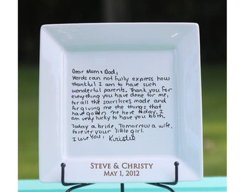 Handwritten Letter Plate Thank You Mom And Dad Wedding Gift Etsy