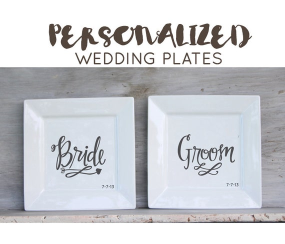 Personalized Wedding Plates Choose Design And Colors Custom Etsy