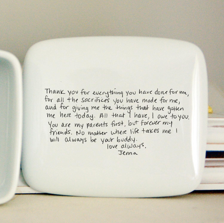 Handwritten Letter Box Message On Top Of Box Wedding Thank Etsy