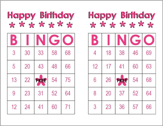 Happy Birthday Bingo Cards Pink Flowers 100 Cards To Play Etsy