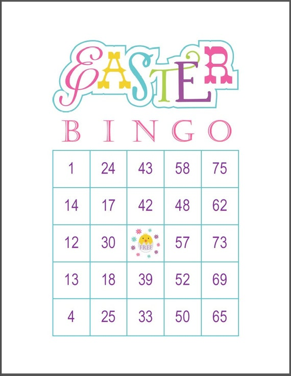 100 Easter Bingo Game Cards 1 Per Page 75 Call Immediate Pdf Download