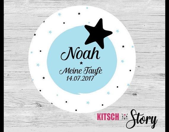 24 Aufkleber Für Gastgeschenke Zur Taufe Mit Stern Sterne Mit Name Mit Taufdatum Personalisisert Personalisierbar Sticker