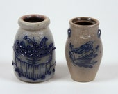 2 Vintage Miniature Stoneware Crocks Rowe Bird Salmon Falls Basket 2 1 2 quot