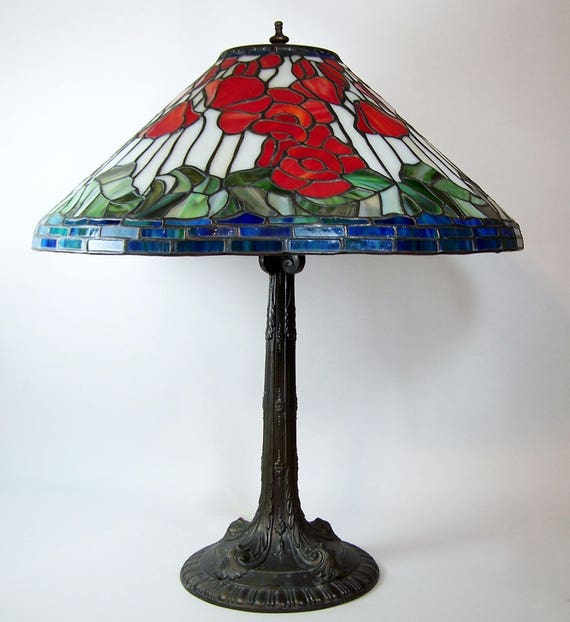 Vintage Slag Glass Table Lamp Leaded Floral Shade White Metal Etsy