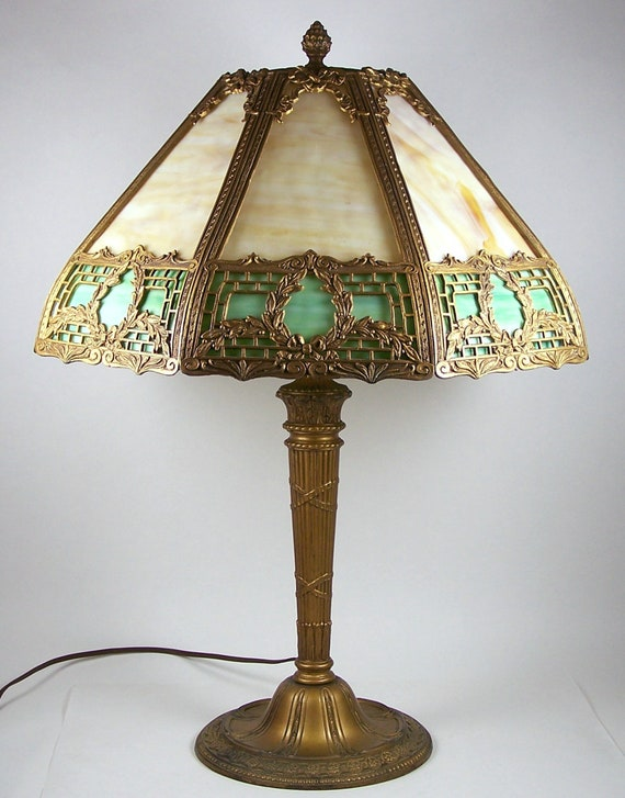 Vintage Slag Glass Table Lamp 8 Panel Caramel Green Brass Etsy
